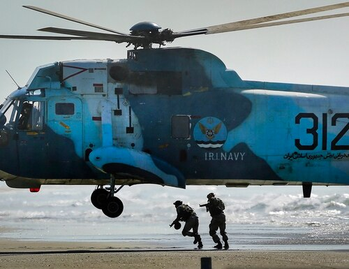 Iranian troops participating in a military drill near the strategic Strait of Hormuz, Iran, Thursday, Sept. 10, 2020. (Mehdi Marizad/Fars News Agency via AP)