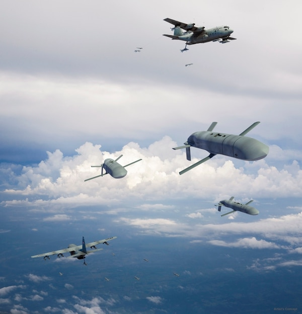 Concept art for DARPA's Gremlins program, which seeks to develop small, recoverable swarming UAVs. (General Atomics)