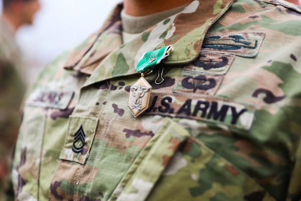 Soldiers assigned to 1st Battalion, 41st Infantry Regiment, 2nd Infantry Brigade Combat Team, 4th Infantry Division, received valor awards April 12, 2019, during an awards ceremony at Fort Carson, Colorado. (Staff Sgt. Neysa Canfield/Army)