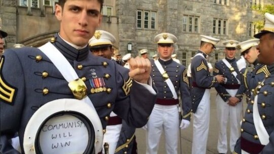 2nd. Lt. Spenser Rapone received an other-than-honorable discharge less than a year after images like this one from his days at West Point went viral. (Courtesy of Spenser Rapone via AP)