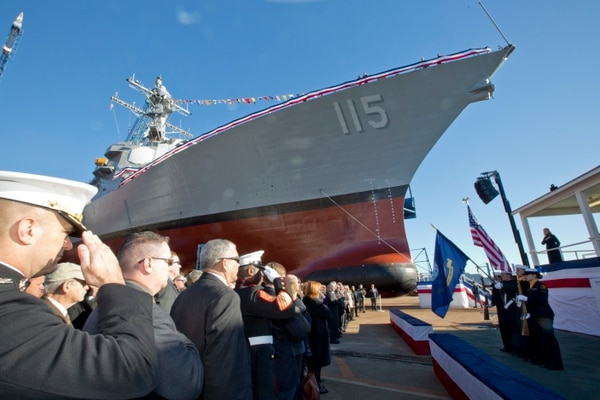The Christening ceremony for General Dynamics Bath Iron Works' first DDG restart destroyer, the Rafael Peralta. (U.S. Marine Corps photo by Sgt. Gabriela Garcia)