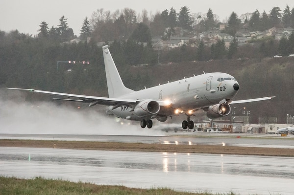 P-8A Poseidon aircraft takes off from a Boeing facility in Seattle, Wash. (U.S. Navy photo courtesy of Boeing Defense/Released)