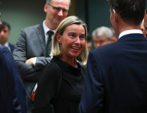 European Union foreign policy chief Federica Mogherini, center, arrives for a European Foreign Affairs Ministers meeting at the European Council headquarters in Brussels, Monday, July 15, 2019. (Francisco Seco/AP)