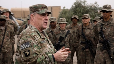 U.S. Army Chief of Staff Gen. Mark A. Milley speaks to soldiers at Qayyarah Airfield West, Iraq, on Dec. 22, 2017. (Spc. Avery Howard/U.S. Army)