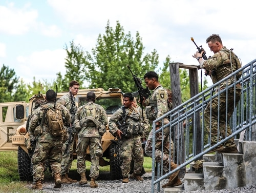 Soldiers from 2nd Brigade Combat Team exit a target building while training on Fort Campbell on Aug. 14, 2019. (Staff Sgt. Iman Broady-Chin/Army)