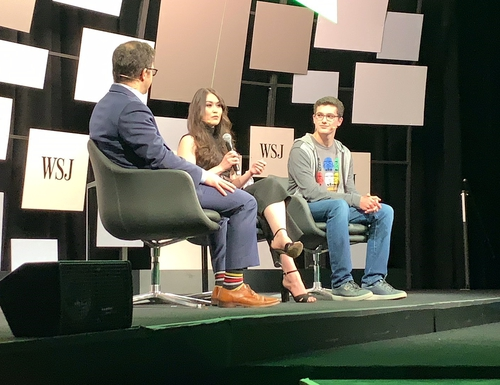 Reina Staley, co-founder of the Defense Digital Service, and Jack Cable, right, discuss culture at the Wall Street Journal's Future of Everything conference in May. (DDS)