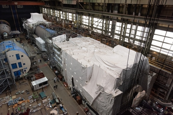 The Virginia-class submarine New Jersey reached pressure hull complete in February 2021. The construction milestone signifies that all of the submarine's hull sections have been joined to form a single, watertight unit. The boat was 72 percent complete as of March 2021. (Matt Hildreth/Huntington Ingalls Industries)