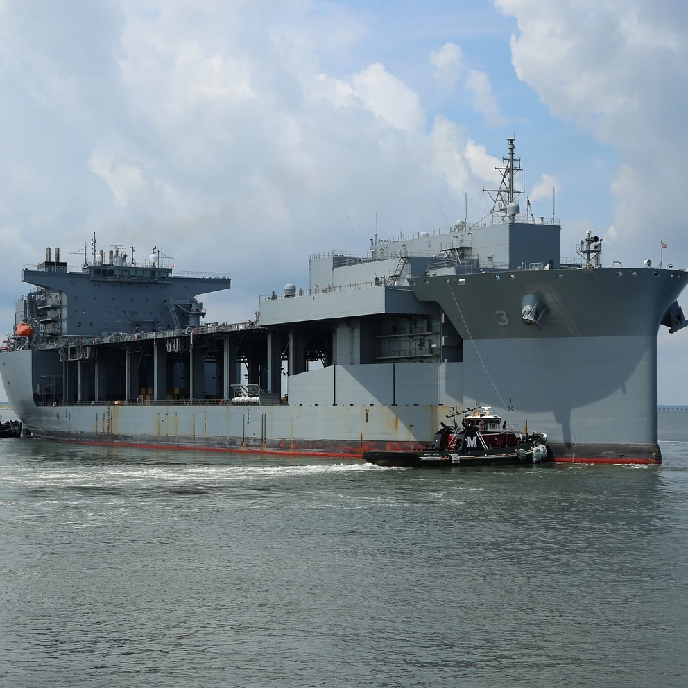 170710-N-OH262-448 NORFOLK, Va. (July 10, 2017)—The expeditionary mobile base USNS Lewis B. Puller (T-ESB 3) gets underway from Naval Station Norfolk to begin its first operational deployment, July 10. Puller is deploying to the U.S. Fifth Fleet's area of operation in support of U.S. Navy and allied military efforts in the region. (U.S. Navy photograph by Bill Mesta/released)