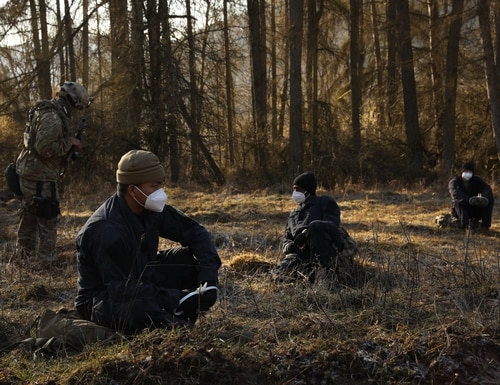 U.S. soldiers prepare to conduct interrogations with mock opposing forces at the Joint Multinational Readiness Center, Hohenfels, Germany, Feb. 27. (Spc. Savannah Miller/Army)