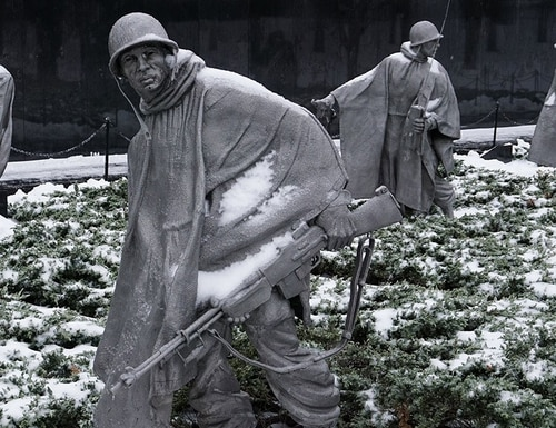 Snow-covered statues in the Korean War Veterans Memorial are seen on March 14, 2017,in Washington, D.C. (Mandel Ngan/AFP/Getty Images)