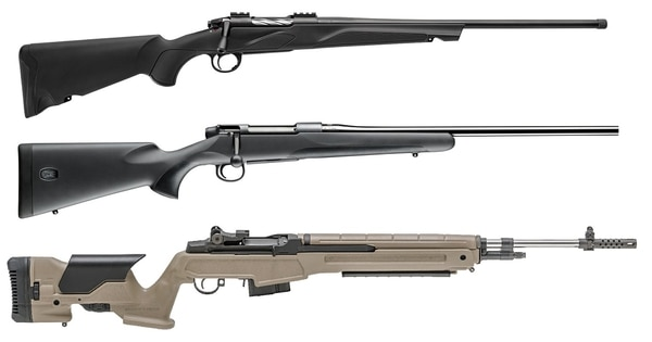 From top, the Franchi Momentum, Mauser M18 and Springfield Armory M1A 6.5 Creedmoor (Manufacturer photos)
