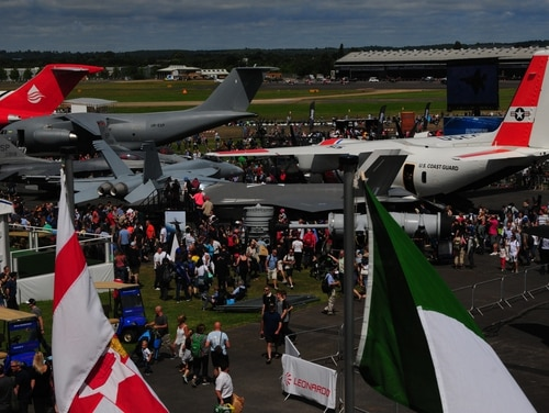 Farnborough International Airshow visitors observe static displays of U.S. military aircraft on July 16, 2016. (Master Sgt. Eric Burks/U.S. Air Force)