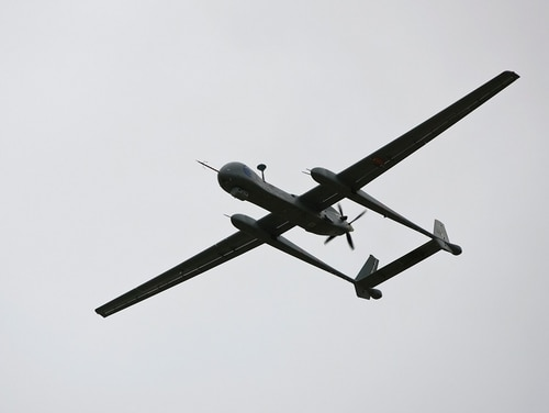 An Israeli Heron TP surveillance drone, known as the IAI Eitan, flies during a presentation to the media at the Tel Nof Air Force base, south of Tel Aviv, on February 21, 2010. (AFP /Jonathan Nackstrand)