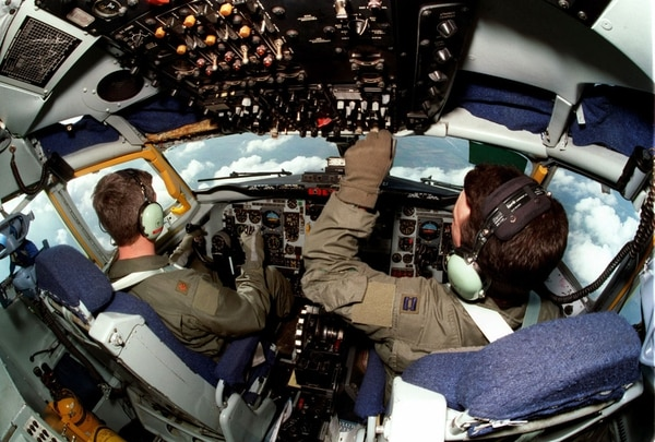 U.S. Air Force airmen guide a KC-135R Stratotanker over the English Channel on March 31, 1999. The tanker was on its way to a refueling track to support NATO aircraft. (U.S. Air Force via Getty Images)
