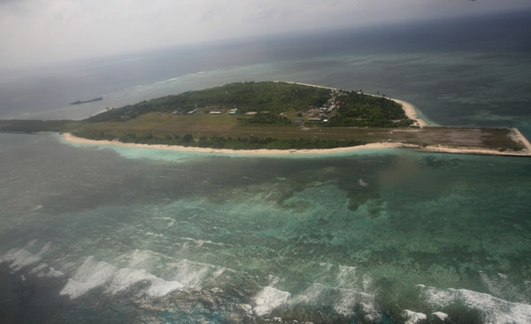 An aerial photo shows Thitu Island, part of the disputed Spratly group of islands, in the South China Sea located off the coast of western Philippines on July 20, 2011. (AFP)
