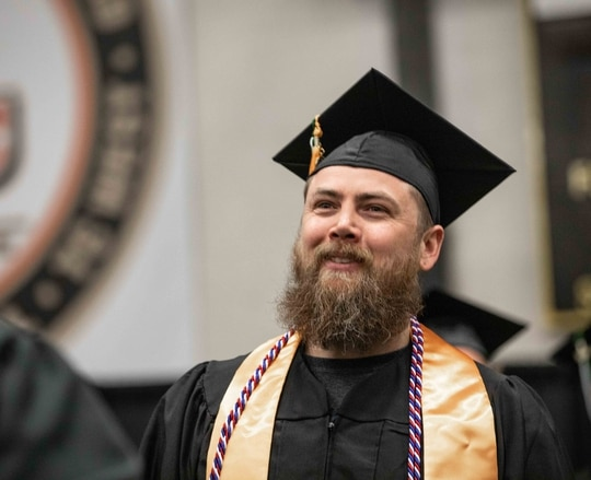 A student veteran graduating from Northwestern Michigan College. (Meg Young/Northwestern Michigan College)