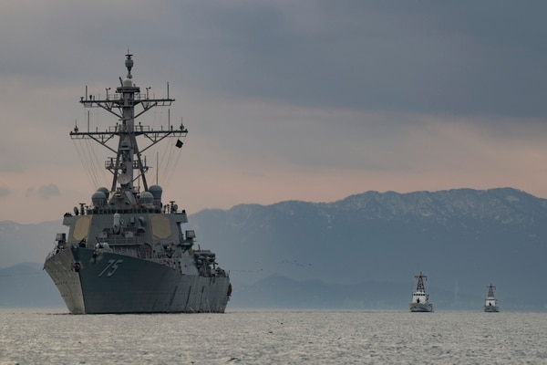 The U.S. Navy destroyer Donald Cook sails alongside Georgian Coast Guard ships in the Black Sea in January 2019. The American service faces a wave of decommissioning ships in the coming years. (MC2 Ford Williams/U.S. Navy)