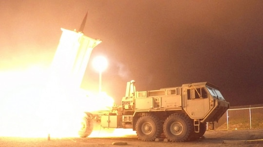 A Terminal High Altitude Area Defense interceptor is launched from the Pacific Spaceport Complex Alaska in Kodiak, Alaska, on July 30, 2017. (Leah Garton/U.S. Missile Defense Agency)