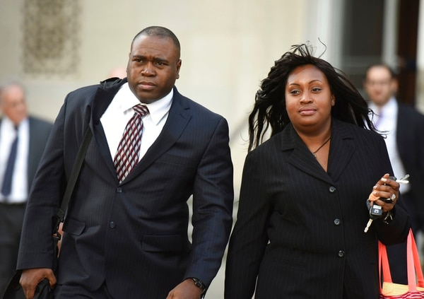 In this Oct. 17, 2014, file photo, John Jackson and his wife, Carolyn, leave the Federal Courthouse in Newark, N.J., after opening arguments in their trial on charges of child abuse. The former military couple, convicted in July of 2015 of systematically abusing their foster children, will find out on Wednesday, April 11, 2018, if their sentences will be increased. (Chris Pedota/The Record via AP)