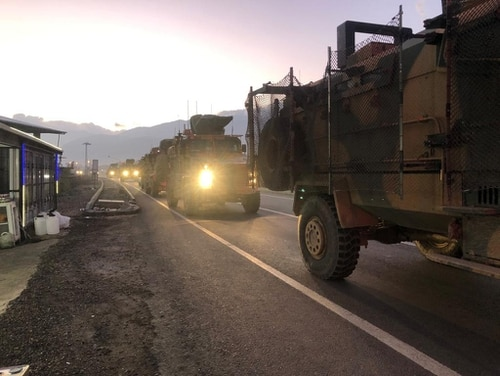 A pictures shows a Turkish military convoy in Kilis at the Syria border, on Dec. 22, 2018. Turkey has reinforced its military deployment near the Syrian border in the southeastern province of Kilis, local media reported, for a possible operation against Syrian Kurdish militias in coming days. (AFP/Getty Images)