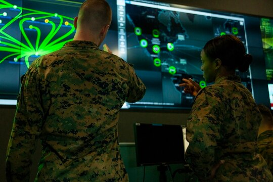 Marines with Marine Corps Forces Cyberspace Command at Lasswell Hall aboard Fort Meade, Maryland, Feb. 5, 2020. Cyber skills will be important from the lowest to highest ranks, especially in special operations. (Marine Corps)