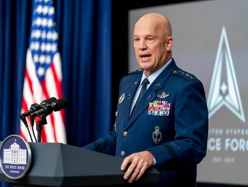 Chief of Space Operations Gen. Jay Raymond speaks at a ceremony to commemorate the first birthday of the U.S. Space Force on Dec. 18, 2020, in Washington. The service announced acquisitions restructuring plans on Thursday. (Andrew Harnik/AP)  - 4EOUTTN635FDVNPHAMEZDS5DTA - Vandenberg Space Force Base and Space Launch Delta 30