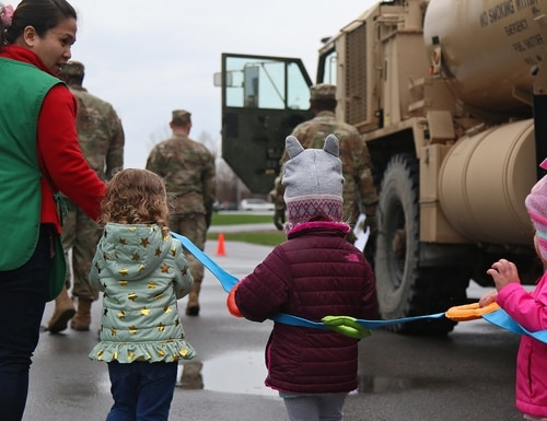 Lawmakers want to inject billions for child care and barracks facilities. Shown here in 2019, soldiers brought in some big trucks during a static display for preschool children at the Memorial Child Development Center at Fort Drum, N.Y. (Staff Sgt. Paige Behringer/Army)
