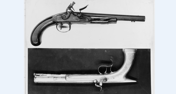 A pair of pistols in the Decatur House said to have been used by Commodore Stephen Decatur in the duel in which he was killed, 1820. (National Archives)