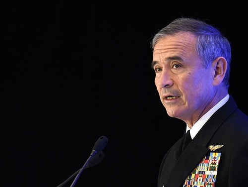 Adm. Harry B Harris, Jr, commander, US Pacific Command, delivers a speech at the 30th International Institute for Strategic Studies (IISS) Fullerton Lecture in Singapore on Oct. 17, 2017. In congressional testimony on Feb. 14, 2018, Harris said North Korea's