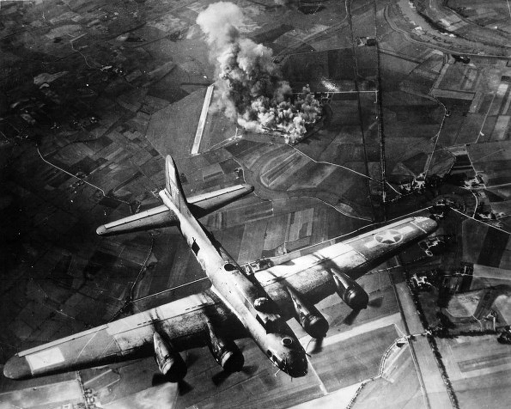 Bombers attack ball bearing factories at Schweinfurt, Germany. (U.S. Air Force)