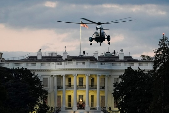Marine One prepares to land on the South Lawn of the White House on Oct. 5, 2020, in Washington. (Drew Angerer/Getty Images)