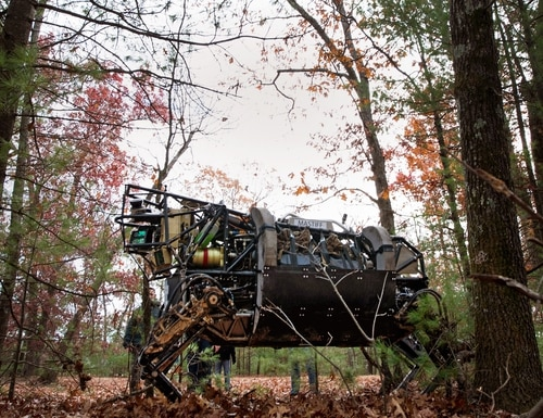 The Legged Squad Support System, or LS3, is demoed by engineers at Fort Devens, Massachusetts. Legged robots such as this are likely to be early candidates for programs looking to add muscle to the machines for better stability and mobility on uneven terrain. (Sgt. Michael Walters/Marine Corps)