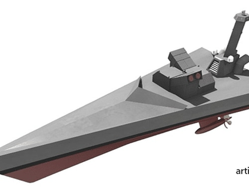 A Defense Advanced Research Projects Agency artists' rendering of a ship designed to operate completely without human intervention. (Source: DARPA)