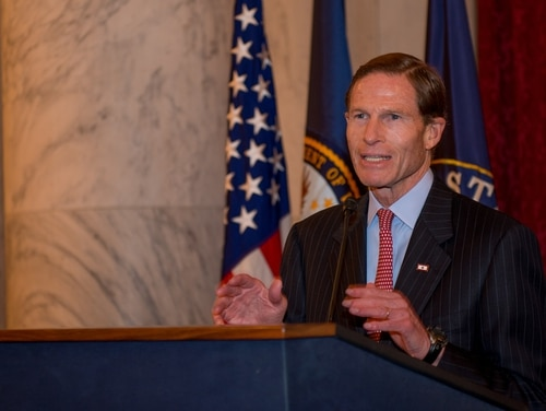 Sen. Richard Blumenthal provides remarks during a Senate Veterans Affairs Committee and Joint Services reception held at the Russell Senate Office Building, Wednesday, Nov. 4, 2015. The purpose of the reception was to show appreciation for veterans and particularly highlight the veterans from all branches serving in Congress. (U.S. Coast Guard photo by Petty Officer 2nd Class David Marin)