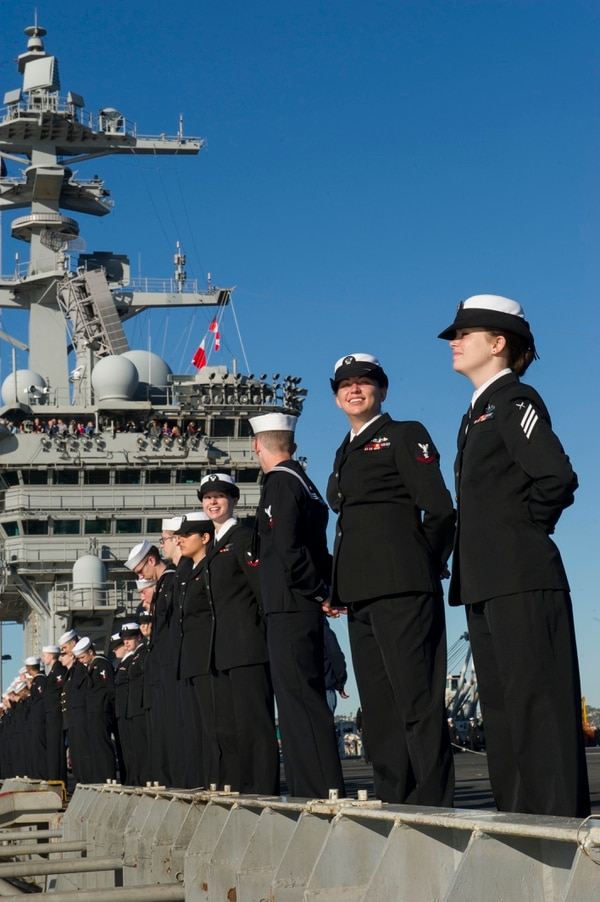 151123-N-WO968-171 SAN DIEGO (Nov. 23, 2015) Sailors man the rails on the flight deck aboard the aircraft carrier USS Theodore Roosevelt (CVN 71). Theodore Roosevelt arrived at its new homeport of San Diego after completing an eight-month around-the-world deployment. (U.S. Navy photo by Mass Communication Specialist Seaman Joseph S. Yu/Released)