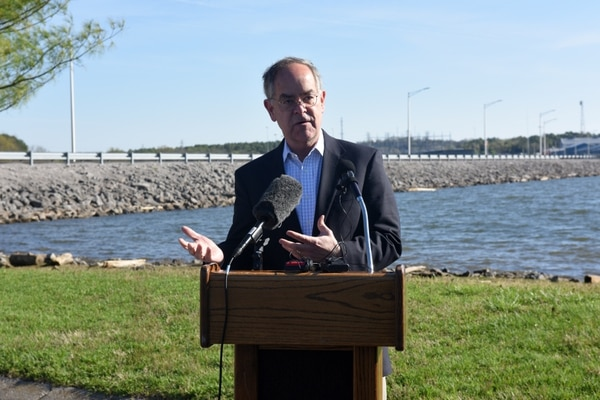 Rep. Jim Cooper, R-Tenn., addresses the media at Old Hickory Dam in Old Hickory, Tenn., on March 29, 2016. (Leon Roberts/U.S. Army)