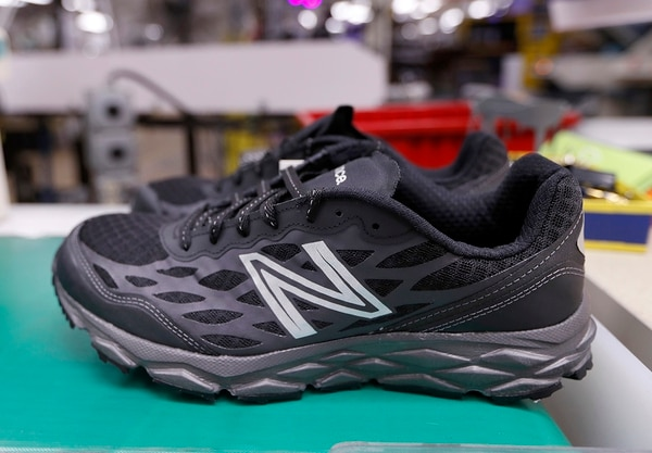 In this Dec. 17, 2018, photo, a pair of athletic shoes designed for the military are seen up at a New Balance factory in Norridgewock, Maine. The first shipments of athletic shoes made for the U.S. Department of Defense are being shipped out. (Robert F. Bukaty/AP)
