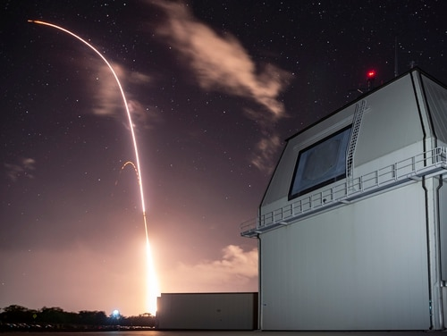 The Missile Defense Agency and sailors manning the Aegis Ashore Missile Defense Test Complex at the Pacific Missile Range Facility at Kauai, Hawaii, conduct a flight test this month. (DOD)