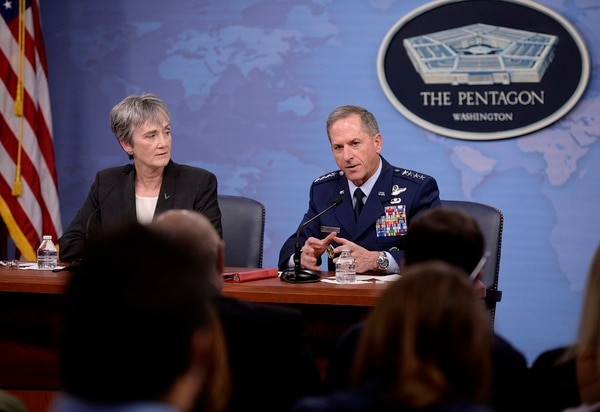 Secretary of the Air Force Heather Wilson and Air Force Chief of Staff Gen. David Goldfein, seen here in November 2017, updated lawmakers April 24 on the steps the service has taken to understand and eliminate the causes of hypoxia and other unexplained physiological events. (Staff Sgt. Rusty Frank/U.S. Air Force)