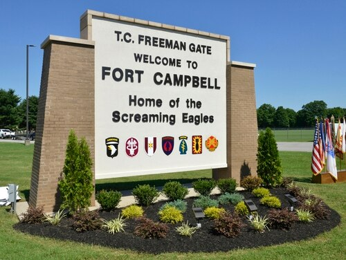 "The new T.C. Freeman Gate (Welcome to Fort Campbell) sign near the entrance of Gate 4 on Fort Campbell, Ky., June 28, 2016. The new sign was just unveiled by U.S. Army retired Col. Bob Freeman (spouse of T.C. Freeman) and his family members, during the gate memorialization ceremony. Gate 4 was renamed in honor of Clarissa Ann Jackson ""T.C."" Freeman who was a Civilian Aide to the Secretary of the Army for Central Kentucky and outstanding supporter of the Army and Fort Campbell for 30 years. Gate 4 will now be known as the T.C. Freeman Gate. ""T.C."" passed away on May 19, 2016 at the age of 83. (U.S. Army Photo by Sam Shore/Released)"