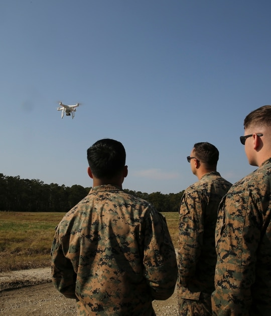 Marines test-fly a DJI Phantom 3 drone during a training exercise at Camp Lejeune, N.C., Nov. 16, 2016. The Pentagon has sought to diminish its use of small drones like the DJI Phantom, which are made by Chinese companies. (Sgt. Kaitlyn V. Klein/U.S. Marine Corps)