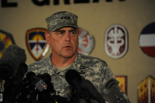Lt. Gen. Mark Milley gave an update at 9:40 p.m. April 2 on the Fort Hood shooting incident to press at the Fort Hood main gate.