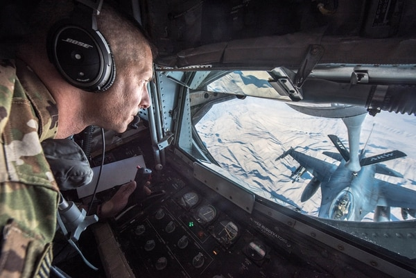 The Iraqi Air Force has grown its capabilities, but it still needs help from the U.S.-led coalition, including for air refueling missions. Here, Tech. Sgt. Daryl Gladstein, a boom operator, refuels an F-16 Fighting Falcon. (Master Sgt. Phil Speck/Air Force)