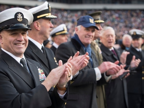 Master Chief Petty Officer of the Navy Russell Smith, Chief of Naval Operations Adm. John Richardson, Secretary of the Navy Richard V. Spencer, Chairman of the Joint Chiefs of Staff Gen. Joseph F. Dunford, Jr., and Secretary of Defense James N. Mattis at Army-Navy football game on Dec. 8. (Mass Communication Specialist 1st Class Sarah Villegas/Navy)