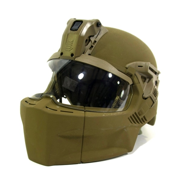The new Integrated Head Protection System is configured with mandible and visor without ballistic applique for