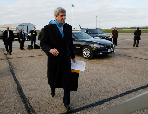 U.S. Secretary of State, John Kerry, departs London on his way to Vienna, Austria for what is expected to be