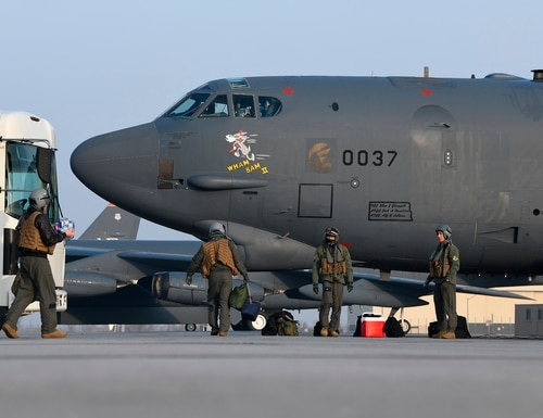 Pilots from the 69th Bomb Squadron board B-52H Stratofortress bomber