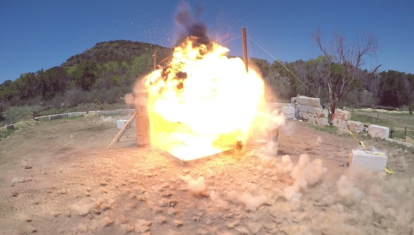 A view from the front of the arena on the test range as the warhead detonates. (Photo courtesy of Orbital ATK)