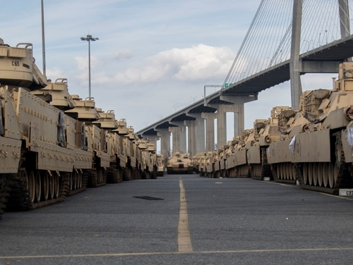 M1 Abrams tanks stand ready to be loaded onto American Roll-on Roll-Off Carrier's Endurance in Savannah, Ga., in February 2020 for Defender Europe 20. (Pfc. Carlos Cuebas Fantauzzi/Army)