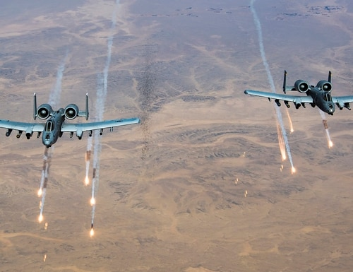 U.S. Air Force A-10 Thunderbolt II's release flares over Afghanistan, Nov. 13, 2019. (Staff Sgt. Matthew Lotz/Air Force)